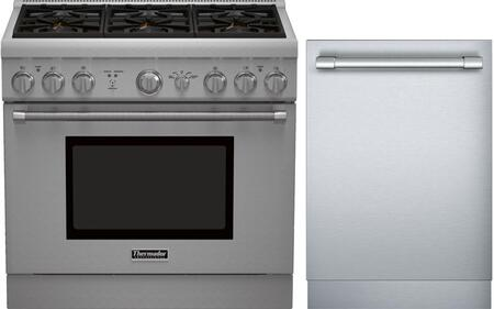 2-Piece Stainless Steel Kitchen Package with PRG366GH 36