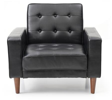 Navi Collection G843A-C 43 inch  Sleeper Chair with Tapered Wood Legs  Track Arms  Button Tufted Cushions  Heavy Duty Springs and Faux Leather Upholstery in Black