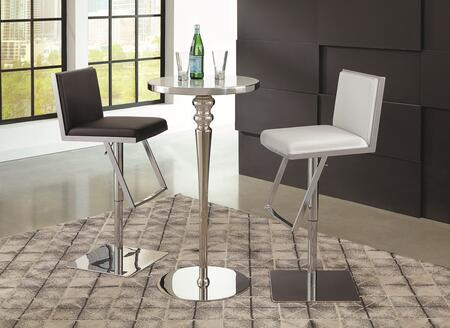 Dixon Collection 182031WBSAS 3 PC Bar Table Set with Bar Table + Black Adjustable Bar Stool + White Adjustable Bar