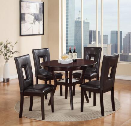 Poppy Collection POPPYDININGSET 5-Piece Dining Room Set with Round Dining Table and 4 Side Chairs in