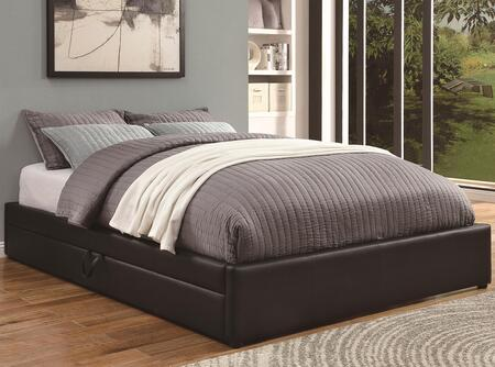 300386Q Upholstered Beds Queen Platform Bed with Leather-Like Vinyl Upholstery  Underbed Storage and Exposed Strap Handle Pull in