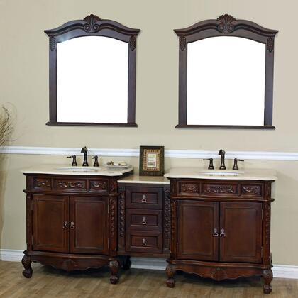 202016A Collection 202016ADCRM 3 PC Vanity Set with Cream Marble Countertop Double Sink Vanity and 2