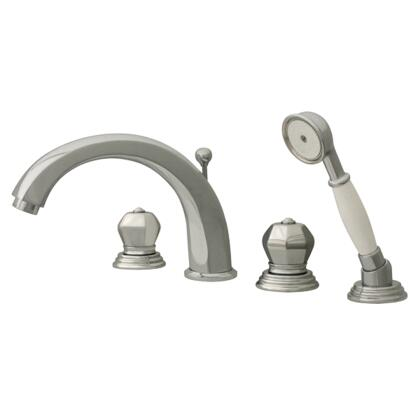 514423TFC Blairhaus Washington deck mount tub filler set with smooth lined arcing spout  crown-shaped turn handles  beveled escutcheons  hand held shower with