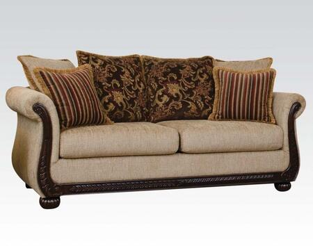 Rachell Collection 52360 85 inch  Sofa with 6 Pillows Included  Made in USA  Removable Cushions  Rolled Arms  Pumpking Bun Leg and Fabric Upholstery in Radar Coffee