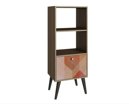 Sami Collection 2AMC127 18 inch  2-Shelve Double Bookcase with 1 Drawer  Splayed Legs and Square Knob Design in Oak and
