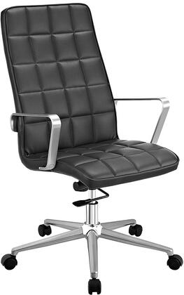 Tile Collection EEI-2126-BLK Highback Office Chair with Adjustable Height  Swivel Function  Dual-Wheel Nylon Casters  Brushed Aluminum Armrests  Powder Coated