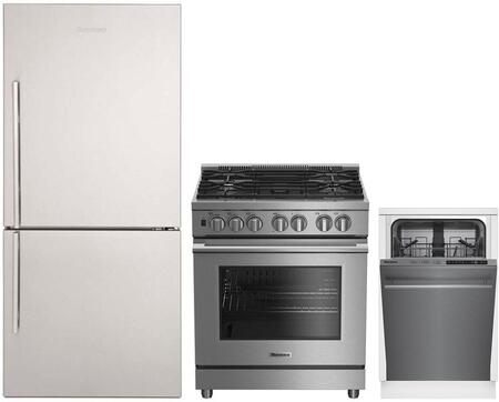 3-Piece Kitchen Package with BRFB1822SSN 30 inch  Bottom Freezer Refrigerator  BDFP34550SS 30 inch  Freestanding Dual Fuel Range  and DWS55100SS 18 inch  Built In Fully