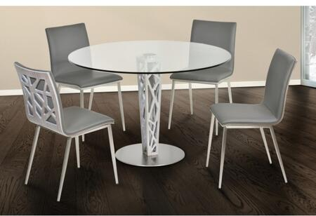 Crystal Collection LCCRDITOGRGSET 5 PC Dining Room Set with Round Dining Table and 4 Grey Upholstered Dining Chairs in Stainless Steel