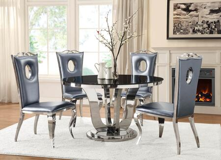 Blasio Collection 107881-S5 5-Piece Dining Room Set with Round Dining Table and 4 Side Chairs in Chrome and