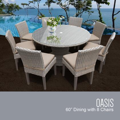 OASIS-60-KIT-8C-WHEAT Oasis 60 Inch Outdoor Patio Dining Table with 8 Armless Chairs with 2 Covers: Grey and