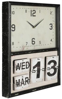 40850 Lencho Clock in Distressed Black Metal
