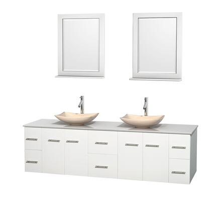 WCVW00980DWHWSGS5M24 80 in. Double Bathroom Vanity in White  White Man-Made Stone Countertop  Arista Ivory Marble Sinks  and 24 in.