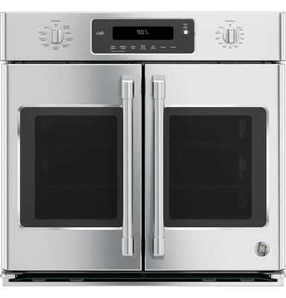 """GE Cafe Series 30"""" Built-In Single Electric Convection Wall Oven Stainless Steel CT9070SHSS"""