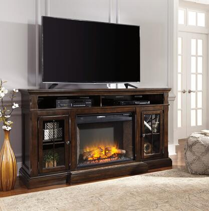 """Roddinton W701SET 74"""" Wide Extra Large TV Stand with W100-21 LG Infrared Fireplace Insert in Dark Brown"""