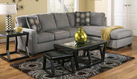 702006617SET Zella 5-Piece Living Room Set with Right Chaise Sectional Sofa  Cocktail Table with 2 Ottomans  and End Table in