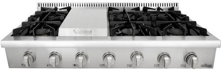 HRT4806U 48 inch  Gas Rangetop with 6 Sealed Burners  Griddle  Continuous Grates  and Porcelain Drip Pan  in Stainless