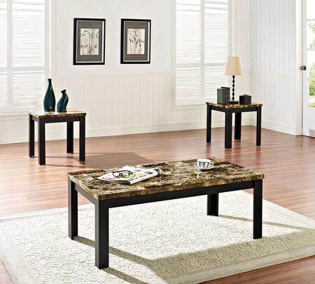 Finely Collection 80320 3 PC Living Room Table Set with Dark Brown Faux Marble Top  Medium-Density Fiberboard (MDF) and Marble Paper Veneer Materials in Black