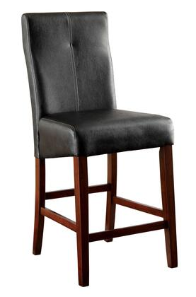 Bonneville II Collection CM3824PC-2PK Set of 2 Counter Height Chair with Black Leatherette Seat  Tapered Legs and Stretchers in Brown Cherry