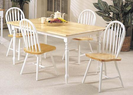 Farmhouse Collection 02247NWC 5 PC Dining Room Set with Rectangular Shaped Dining Table and 4 Side Chairs in Natural and White