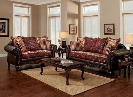 Ellis Collection SM7507-SL 2-Piece Living Room Set with Stationary Sofa and Loveseat in Brown and