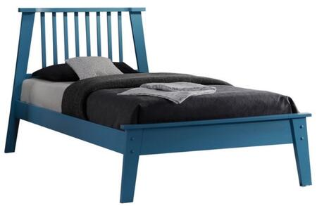 Marlton Collection 25400Q Queen Size Bed with Slatted Design Headboard  Low Profile Footboard  Slat System Included and Poplar Wood Construction in Blue