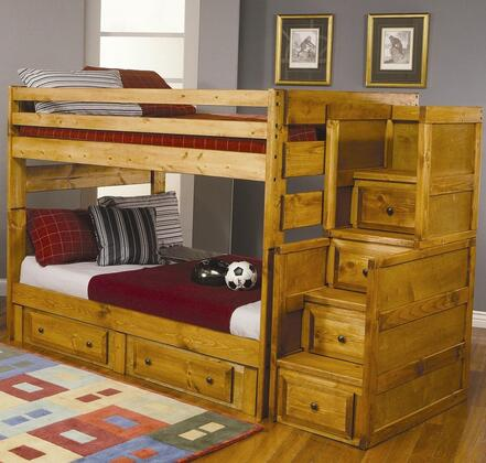 460096SCSD Wrangle Hill Full Over Full Bunk Bed + Stairway Chest + Storage Drawers in Amber Wash
