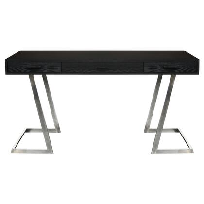Juniper Collection LCJNDEBL Contemporary Desk with Polished Stainless Steel Finish and Black