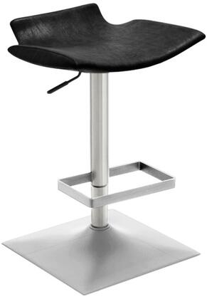 DALLASSTBL Dallas Collection Adjustable Height Bar Stool with Weather Black Leatherette Seat  Brushed Stainless Steel Base  Leg Rest and Made with PU Material
