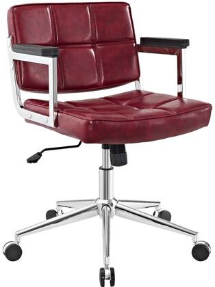 Portray Collection EEI-2686-RED Office Chair with Adjustable Height  Swivel Seat  Five Dual-Wheel Nylon Casters  Chrome Aluminum Frame and Vinyl Upholstery in