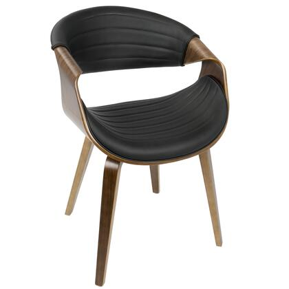 CH-SYMP WL+BK Symphony Mid-Century Modern Dining / Accent Chair in Walnut Wood and Black