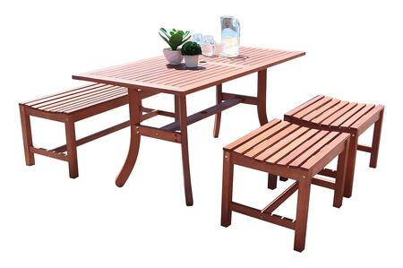 Malibu Collection V189set36 4 Pc Outdoor Backless Dining Set With 4-foot Backless Bench  Rectangular Table  2 Backless Chairs  Umbrella Hole And Eucalyptus