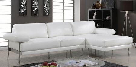 Eilidh CM6422WH-SECT Sectional Sofa with Stitched Details  Pillow Top Arms and Breathable Leatherette Upholstery in