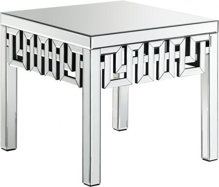 Aria Collection 412-E 24 inch  End Table with Geometric Style  Square Shape and Contemporary Design in Mirrored