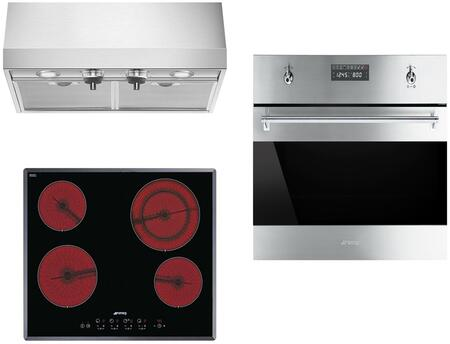 3-Piece Stainless Steel Kitchen Package with S2641TCU 24 inch  Smooth Cooktop  SU45MCX1 24 inch  Single Wall Oven  and KUC24X 24 inch  Under Cabinet