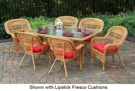 Portside PSD-66-AM OLTOB 7-Piece Dining Set with Dining Table  6 Chairs  Wicker Construction and Tempered Glass Top in Amber with Oleana Tobacco