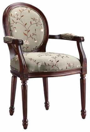 """Vianne 28382 38"""" Traditional Style Accent Chair with Rich Cherry Frame and Fabric Upholstery in Floral Greens and"""
