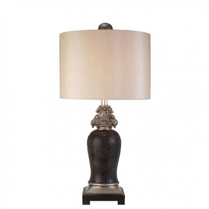 Tracey L94235T Table Lamp with Transitional Style  Sterling Silver-like Trim  Brown Faux Crocodile Leather Finish in Sterling
