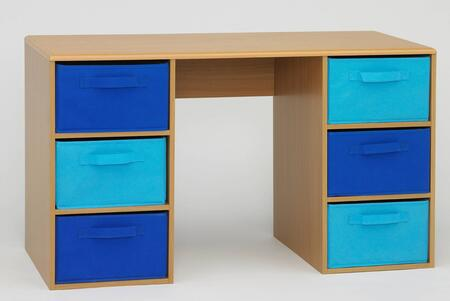 Jason Collection 12334 Boy's 48 inch  Student Desk with 6 Large Canvas Style Drawers and Shaped Top with Rounded Edges in