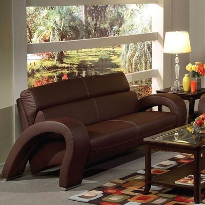 Irisa Collection 51736 67 inch  Loveseat with Chrome Legs  Baseball Stitching  Tight Cushions and Bycast PU Leather Upholstery in Chocolate
