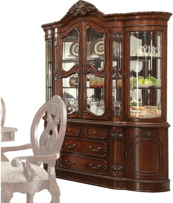 Rovledo Collection 60804 72 inch  China Cabinet with 6 Doors  4 Drawers  3 Touch Lights  Ornamental Crown  Coffee Patina Metal Handles and Knobs in Cherry