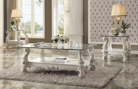 Versailles 82103C2E 3 PC Living Room Table Set with Coffee Table + 2 End Tables in Bone White
