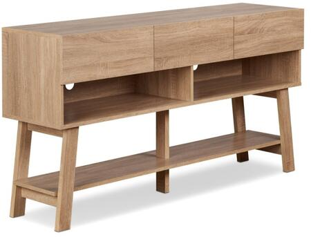 Ariza Collection 91286 59 inch  TV Stand with 3 Drawers  2 Open Compartments  Bottom Shelf  Wire Management Holes and Wood Frame Construction in Rustic Natural