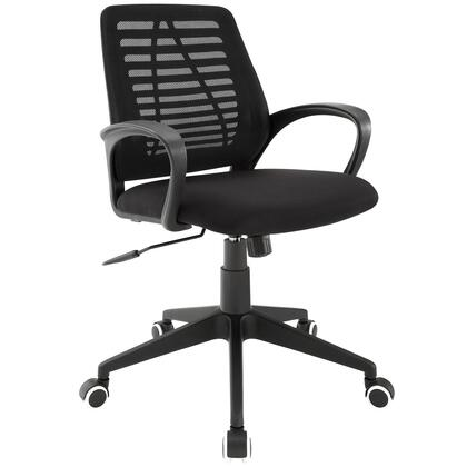 Ardor Collection EEI-1250-BLK Office Chair with Rounded Armrests  Height Adjustable  White-Rimmed Casters  Nylon Base  Tilt Mechanism and Padded Mesh Seat in