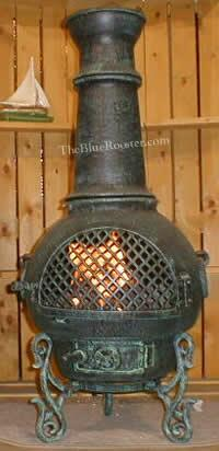 ALCH016AGGKLP Gas Powered Gatsby Chiminea Outdoor Fireplace in Antique Green - Liquid