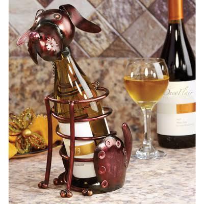 DFA1869 Wine Bottle Holder - Dog in Brown