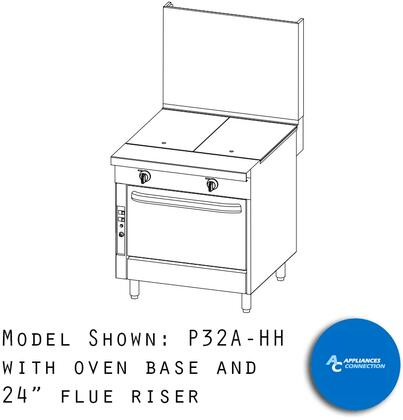 "P32CHH Platinum Series 32"" Uniform Hot Top with Four Standard Burners and Electronic Pilot Ignition  Up to 80000 BTUs (NG)/72000 BTUs (LP)  Cabinet"
