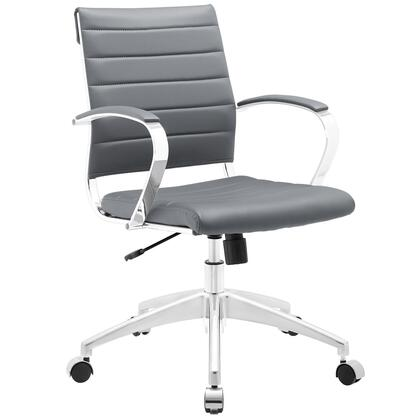 Jive Collection EEI-273-GRY Office Chair with 5-Caster Dual Wheel Base  Padded Arms  Chrome-Plated Aluminum Frame  Tilt Lock Tension Control  Adjustable Height