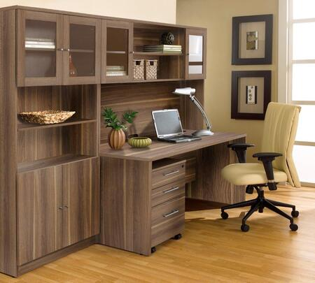 1C100006MWL Walnut Executive Office Desk with Hutch &