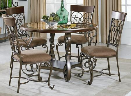 Bombay Collection 13421-4SC 5-Piece Dining Room Set with Round Dining Table and 4 Side Chairs in