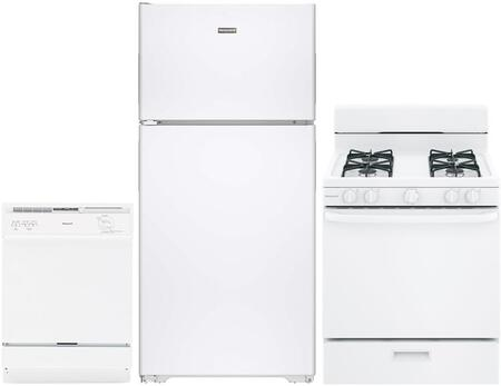 3-Piece White Kitchen Package with HPS15BTHLWW 28 inch  Top Freezer Refrigerator  RGA724EKWH 24 inch  Freestanding Gas Range  and HDA3600HWW 24 inch  Full Console